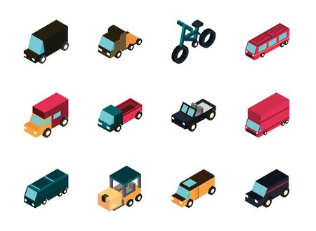 transport car truck vehicles isometric icons set