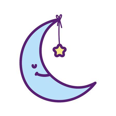 baby shower cute half moon hanging star vector illustration