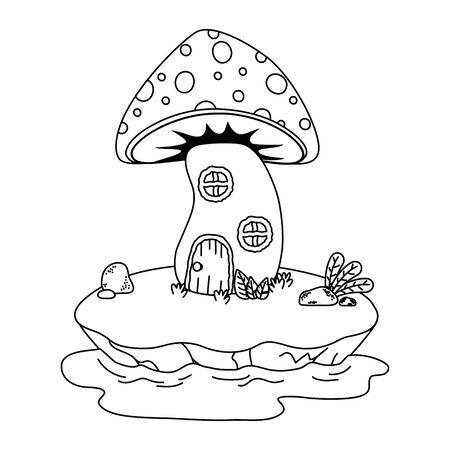 Mushroom house design, Fairytale history medieval fantasy kingdom tale game and story theme Vector illustration Illusztráció