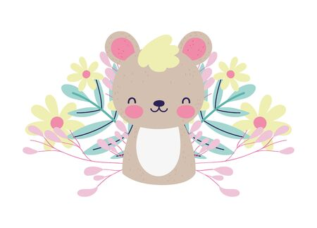 baby shower cute little bear flowers foliage vector illustration