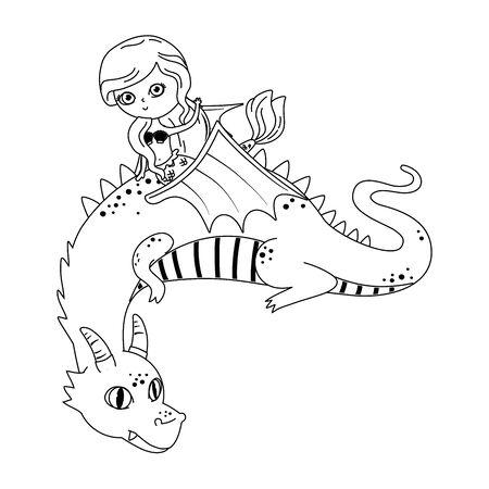 Mermaid and dragon design, Fairytale history medieval fantasy kingdom tale game and story theme Vector illustration Illusztráció