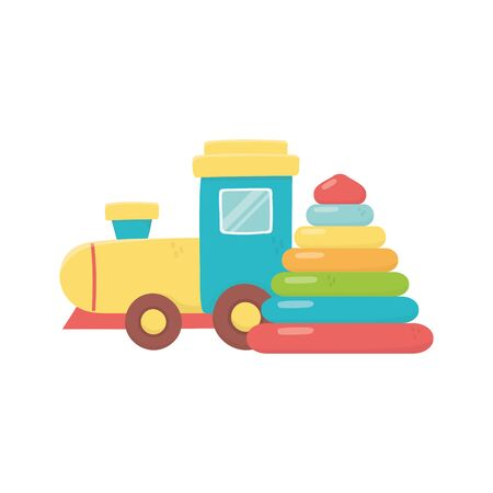 kids toy, rubber pyramid and plastic train toys on white background vector illustration