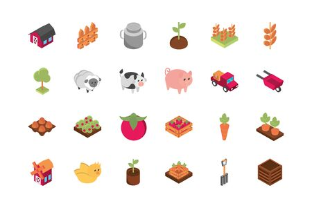 farm harvest agriculture rural isometric icons collection vector illustration Illustration