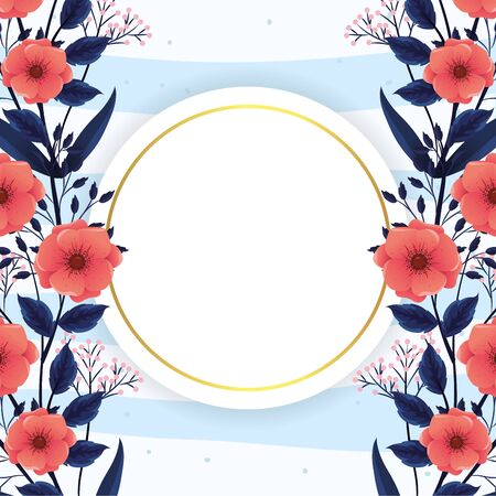 exotic flowers plants with circle label vector illustration Illusztráció