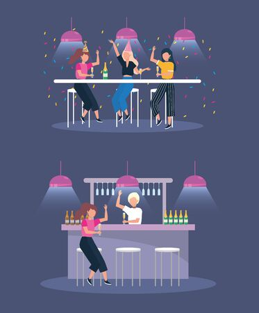 set of women in the party with champagne bottles and lights to party celebration vector illustration
