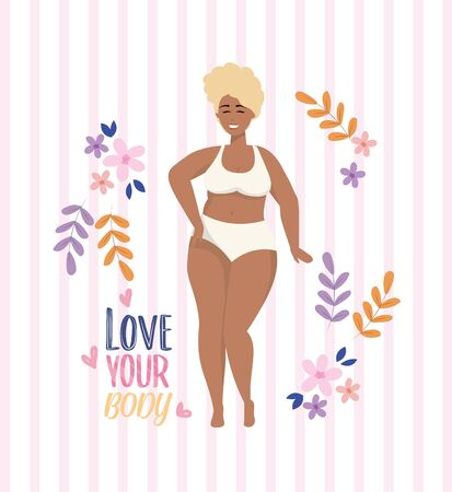 cute girl wearing underclothes with plants and flowers to love yourself vector illustration