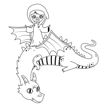 Witch and dragon design, Fairytale history medieval fantasy kingdom tale game and story theme Vector illustration