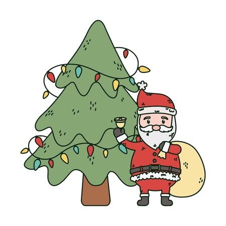 santa with bag bell and tree lights celebration merry christmas vector illustration Ilustracja