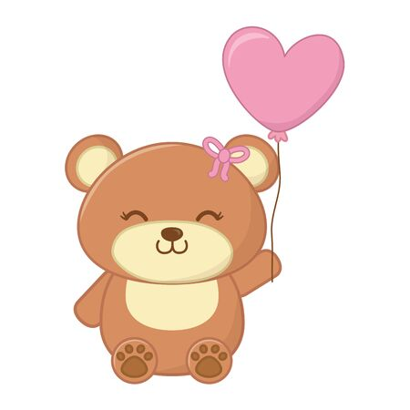 toy bear with bow in the ear and holding a floating heart shaped balloon vector illustration graphic design
