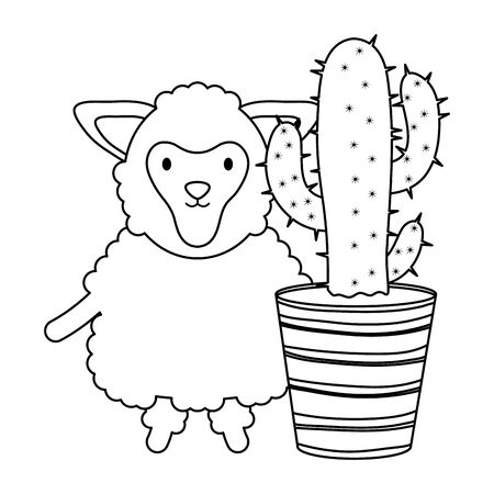 cute sheep with exotic cactus in ceramic pot vector illustration design