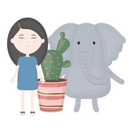 cute elephant and girl with exotic cactus in ceramic pot vector illustration design