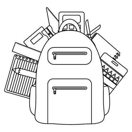 schoolbag with paper sheets and supplies vector illustration design Ilustracja