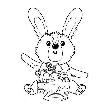 Rabbit cartoon with sweet food design, Animal cute zoo life nature and fauna theme Vector illustration