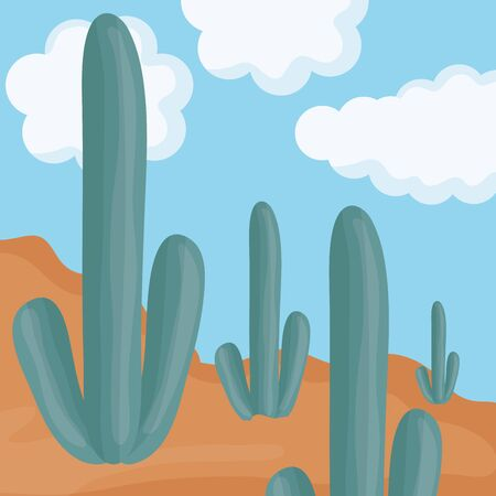 exotic cactus plants in the desert vector illustration design