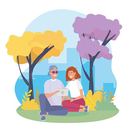 girl and boy couple with bushes plants and trees to happy youth day vector illustration