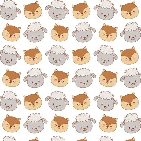 cute woodland animals characters pattern vector illustration design