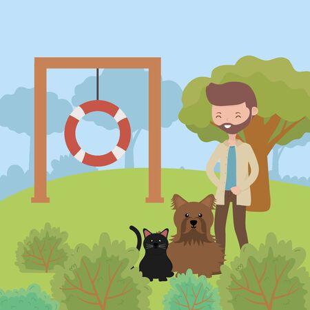 uomo con cane e gatto nel parco che giocano illustrazione vettoriale per la cura degli animali domestici