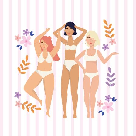 beauty girls with underclothes and branches plants to love yourself vector illustration Illustration