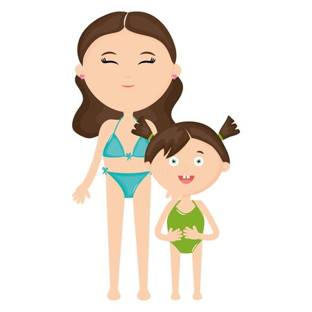 beautiful woman and daughter with swimsuit vector illustration design  イラスト・ベクター素材