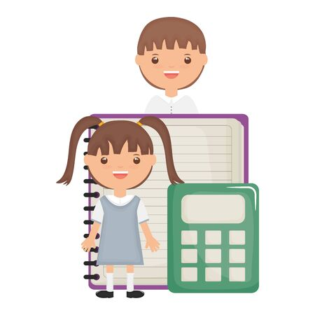 cute little student girl with teacher and calculator vector illustration design Ilustracja