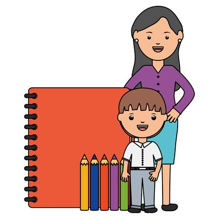 cute little student boy with female teacher and supplies vector illustration design Ilustracja