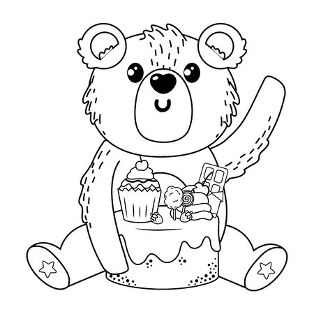 Bear cartoon with sweet food design, Animal cute zoo life nature and fauna theme Vector illustration Foto de archivo - 135430643