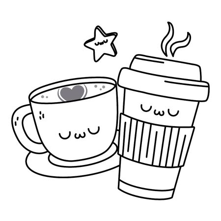 Kawaii of coffee cup cartoon design  イラスト・ベクター素材