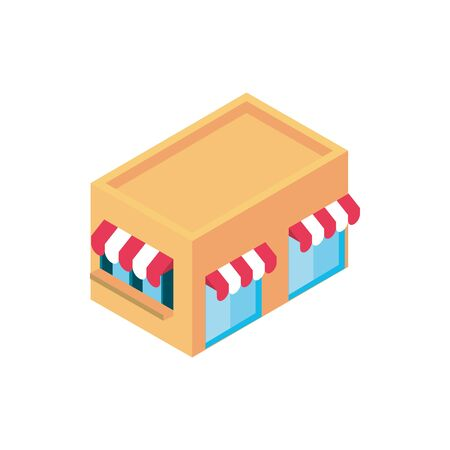 store building online shopping isometric icon vector illustration