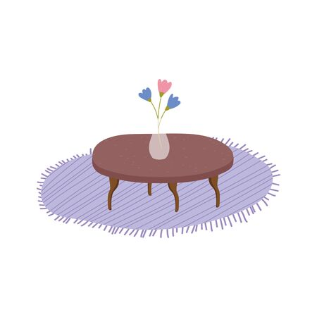 table carpet and vase flowers decoration vector illustration