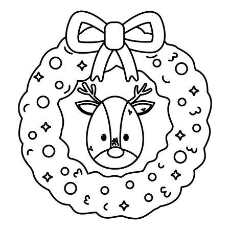 reindeer head wreath decoration celebration merry christmas vector illustration thick line