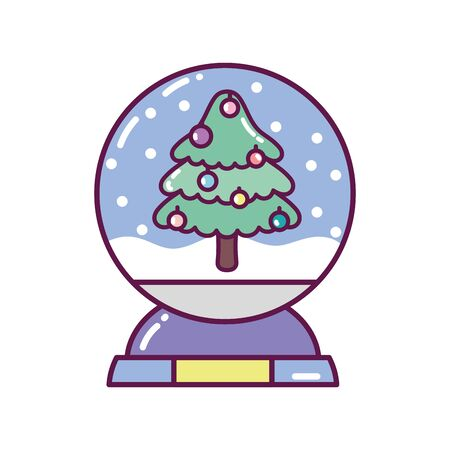crystal ball with tree snow decoration white background merry christmas icon Иллюстрация