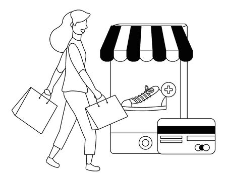 Woman shopping design, Store online ecommerce media market and internet theme Vector illustration