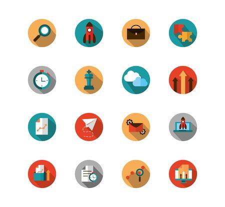 business strategy network icons set block shadow vector illustration Standard-Bild - 135430983