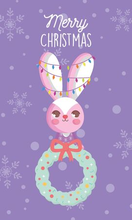 rabbit with lights and garland snow merry christmas card vector illustration
