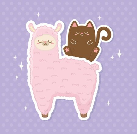 funny llama peruvian and cat kawaii characters vector illustration design