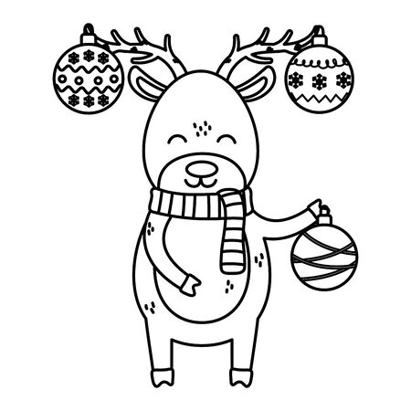 reindeer with hanging balls horns celebration merry christmas vector illustration thick line