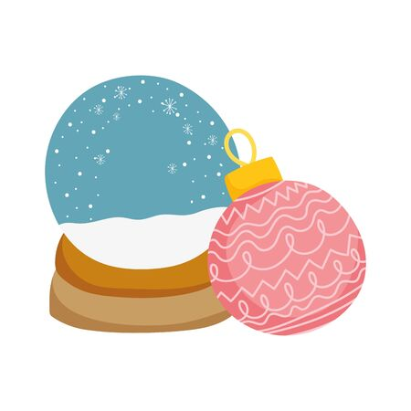 merry christmas celebration snowglobe snow ball decoration vector illustration