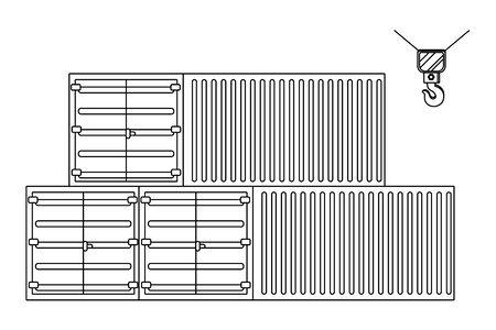 cargo containers icon cartoon vector illustration graphic design