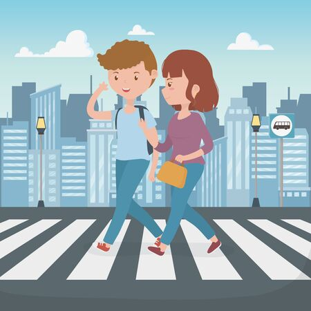 young couple walking in the street characters vector illustration design