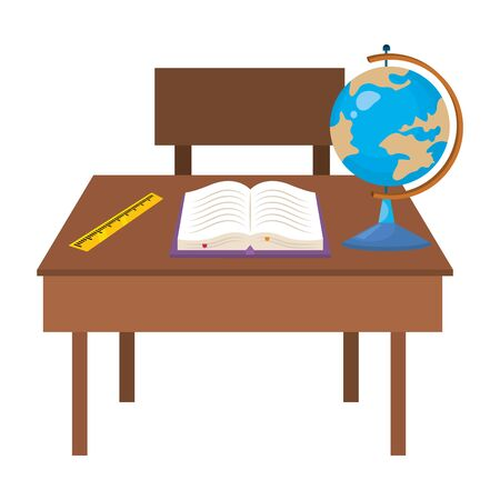 Teacher desk design, School supply object education study lesson and class theme Vector illustration