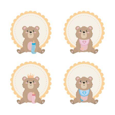 ensemble d'ours en peluche avec étiquette et décoration sur fond blanc vector illustration