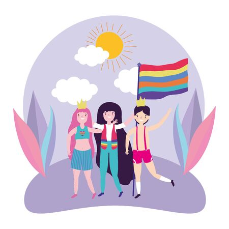 People design, Lgtbi march pride equality freedom love and community theme Vector illustration 向量圖像