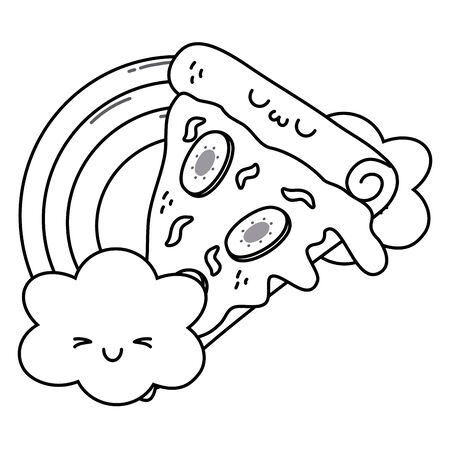 Pizza cartoon design, Kawaii expression cute character funny and emoticon theme Vector illustration
