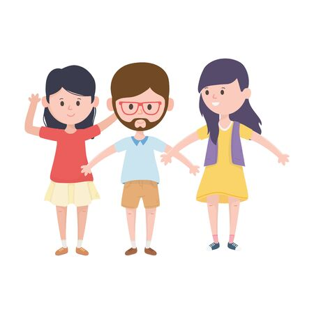 young people together open arms characters vector illustration  イラスト・ベクター素材