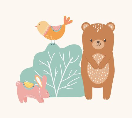 Bear rabbit and bird cartoon design, Animal cute zoo life nature and fauna theme Vector illustration  イラスト・ベクター素材