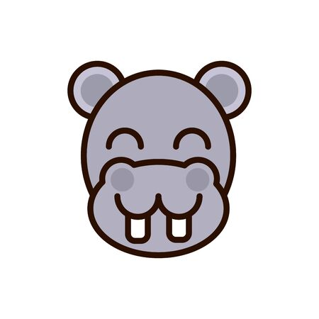 cute face hippo animal cartoon icon on white background