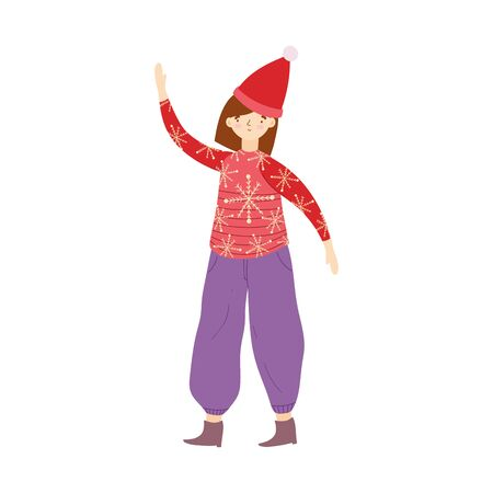 woman with ugly sweater and hat character vector illustration
