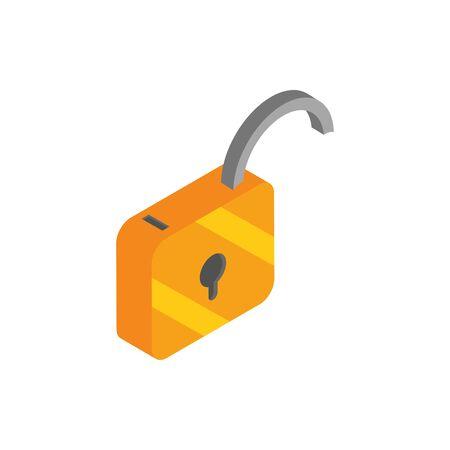 unlock secure social media isometric icon vector illustration