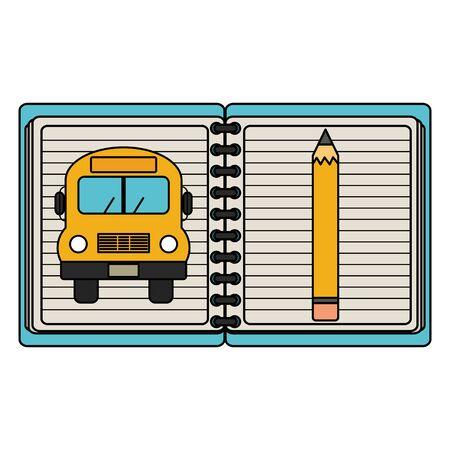 notebook school supply with bus vector illustration design Imagens - 135431150