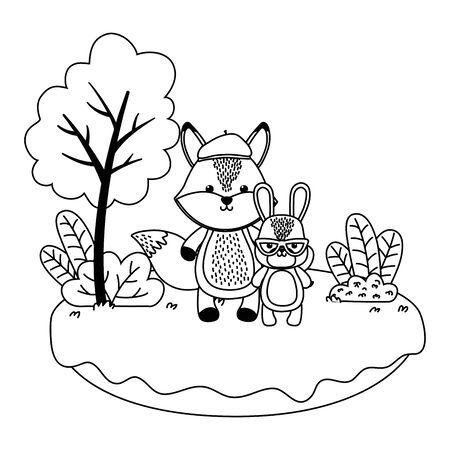 Fox and rabbit cartoon design, Animal cute zoo life nature and fauna theme Vector illustration  イラスト・ベクター素材